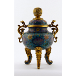 A Gilt Bronze And Cloisonné Enamel Tripod Censer And Cover - 38 Ko